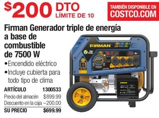 Firman Generador Triple de Energia a Base De Combustible