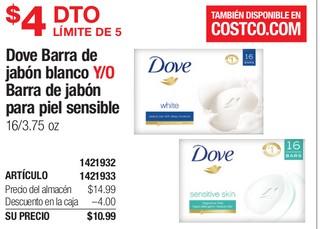 Dove Barra de Jabón Blanco Y/O Barra de Jabón para Piel