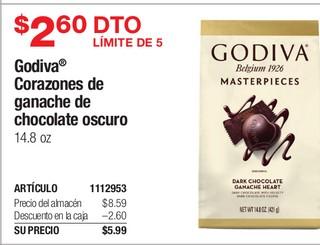 Godiva Corazones de ganache de chocolate oscuro 14.8 oz