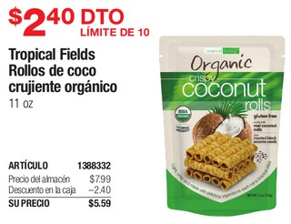 Tropical Fields Rollos de coco crujuentes Organicos 11 oz
