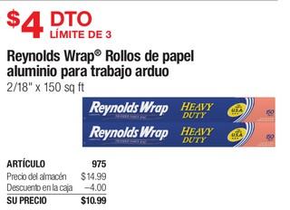 Raynols Wrap Rollos de Papel aluminio para trabajo arduo