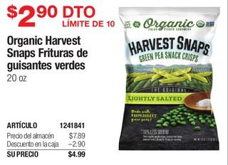 Oganics Harvest Snaps Frituras de guisantes verdes 20 oz