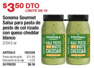 Sonoma Gourmet Salsa para pasta de pesta de col rizada con queso cheddar blanco