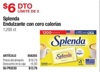Splenda endulzante con cero calorias 1200 ct