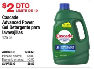 Cascade Advanced Gel Detergente para lavavajillas 125 oz