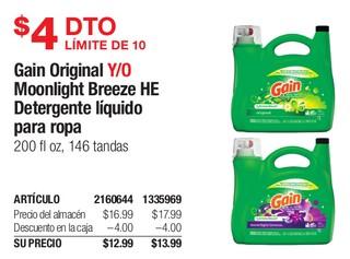 Gain Original Y/O Moonlight Breeze HE Detergente liquido para ropa