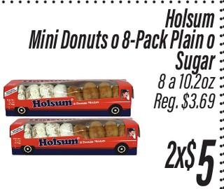 Mini Donuts o 8-Pack Plain o Sugar Holsum