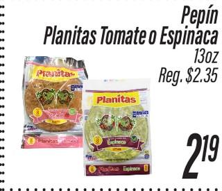 Planitas Tomate o Espinaca Pepín