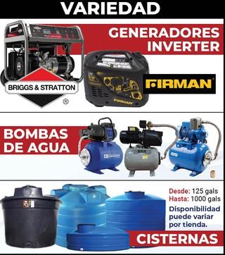 Variedad Generadores Inverter, Bombas de Agua y Cisternas