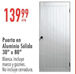 """Puerta en Aluminio Sólido 30"""" x 80"""""""