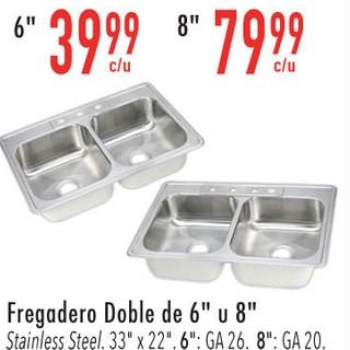 """Fregadero Doble de 6"""" u 8"""""""