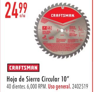 """Craftsman Hoja de Sierra Circular 10"""""""