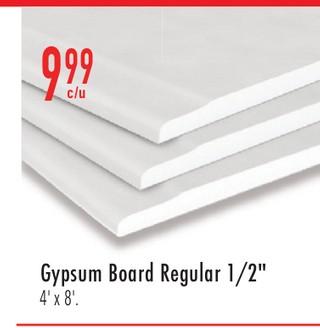 "Gypsum Board Regular 1/2"""