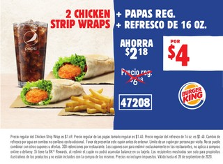 2 Chicken + Papas Reg. Strip Wraps + Refresco de 16 oz