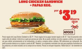 Long Chicken Sandwich + Papas Reg