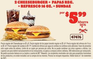 2 Cheeseburger + Papas Reg. + Refresco 16 oz