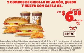 2 Combos de Criollo de Jamón, Queso y Huevo con Café