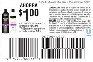 Ahoora $1 Con la compra de 1 producto variedad TRESemmé champú y/o acondicionador de 20 oz