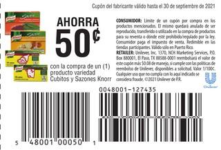 Con la compra de 1 producto variedad Cubitos y Sazones Knorr
