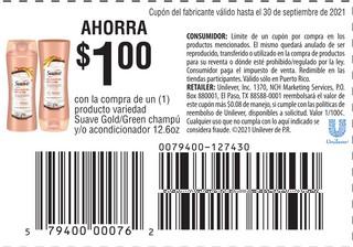 Ahorra $1 Con la compra de 1 producto variedad Suave Gold/Green Champú y/o Acondicionador de 12.6 oz