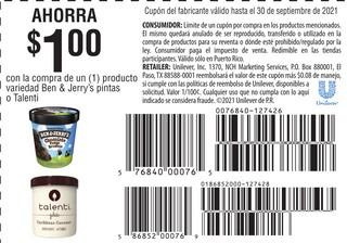 Ahorra $1 Con La Compra de 1 Producto Variedad Ben & Jerry's Pintas o Talenti