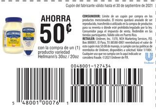 Con la compra de 1 producto variedad Hellmann's de 30 oz 0 20 oz