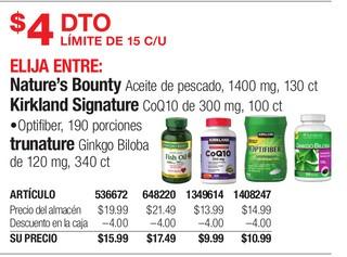 Medicamentos Nature's Bounty Aceite de Pescado, Kirkland Signature CoQ10 & Trunature Ginkgo Biloboa