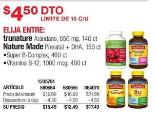Medicamentos Trunature Arándano, Nature Made Prenatal + DHA, 150 ct Super B-Complex