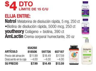 Natrol Melatonina de disolución rápida, Biotina de disolucion rápida, Youtheory Colágeno + Biotina & AMLactin Crema Corporal humectante