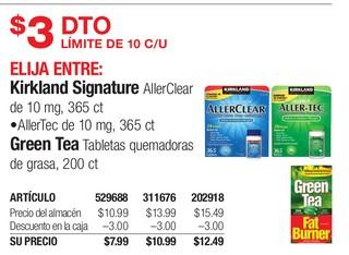 Medicamentos Kirkland Signature AllerClear, AllerTec & Green Tea