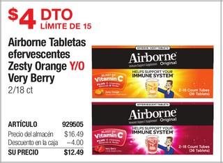 Airbone Tabletas Efervescentes Zesty Orange y/o Very Berry