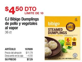 CJ Bibigo Dumplings de Pollo y Vegetales al Vapor