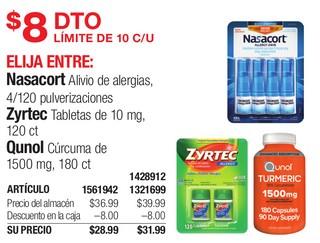 Medicamentos Nasacort Alivio de Alergias, Zyrtec Tabletas & Qunol Cúrcuma