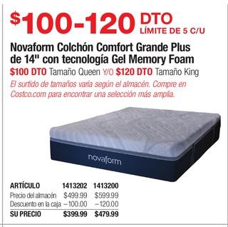 Novaform Colchón Comfort Grande Plus de 14'' con tecnología Gel Memory Foam