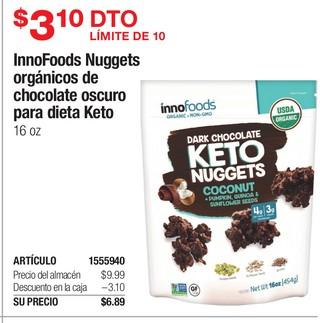 InnoFoods Nuggets Orgánicos de Chocolate Oscuro de Dieta Keto