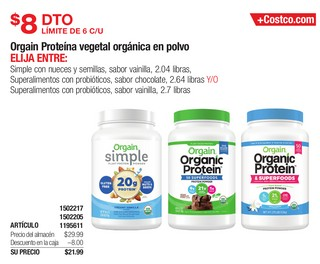 Orgain Proteína vegetal orgánica en polvo