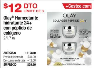 Olay Humectante hidratante 24+ con péptido de colágeno