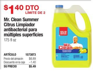 Mr. Clean Summer Citrus Limpiador antibacterial para múltiples superficies