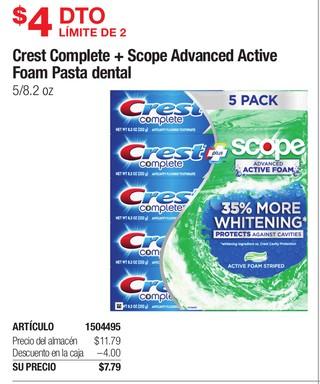 Crest Complete + Scope Advanced Active Foam Pasta Dental