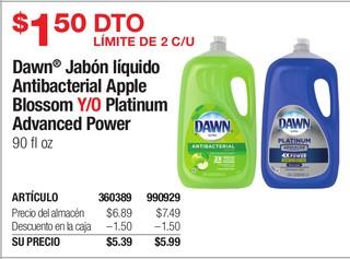 Dawn Jabón líquido Antibacterial Apple Blossom Y/O Platinum Advanced Power