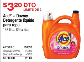 Ace + Downy Detergente líquido para ropa
