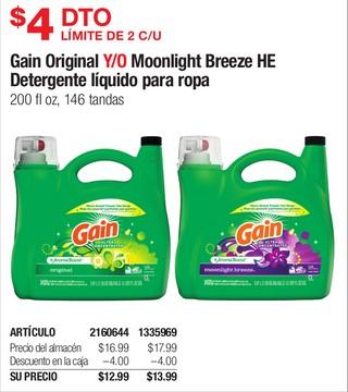 Gain Original Y/O Moonlight Breeze HE Detergente líquido para ropa