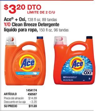 Ace + Oxi Y/O Clean Breeze Detergente líquido para ropa