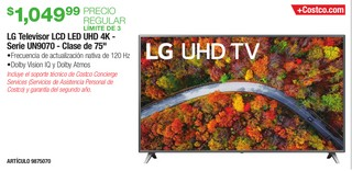 LG Television LCD LED UHD 4K - Serie UN9070 - Clase de 75''