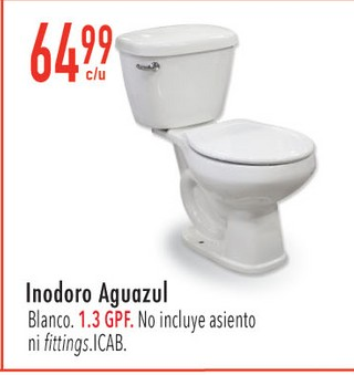 Inodoro Aguazul Blanco. 1.3 GPF.