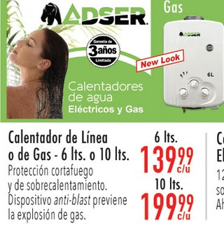 Calentadores de Línea o de Gas-6 lts o 10 lts