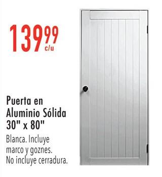 Puerta en Aluminio Sólida 30'' x 80'' Blanca