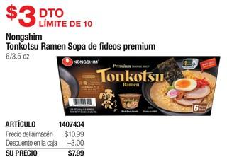 Nongshim Tonkotsu Ramen Sopa de Fideos