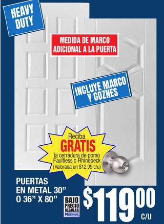 """Puertas en Metal 30"""" o 36"""" x 80"""""""
