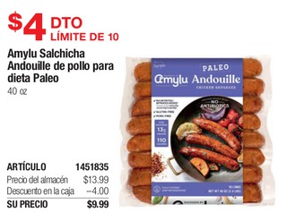 Amylu Salchicha Andouille de Pollo para Dieta Paleo